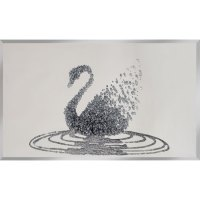 Peyton Glass Wall Art Large In Silver Glitter Swan On