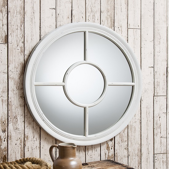 Somford Wall Mirror Round In Cream With Window Design 26984