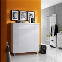 Sydney Shoe Storage Cabinet In High Gloss White With