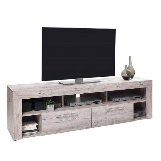 Chapel LCD TV Stand In Sand Oak With 2 Drawers And 5