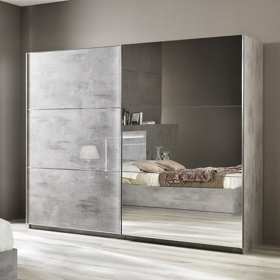 Abby Mirrored Sliding Wardrobe Large In Grey Marble Effect
