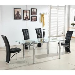 Chrome Dining Chairs Uk Swivel Chair Near Me Cheap Leather And Best Deals On Tables To Alicia Extending Glass Table With 6 Ravenna Black