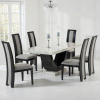Allie Marble Dining Set In Cream And Black With 6 Grey