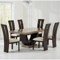 Allie Marble Dining Set In Brown With 6 Ophelia Cream