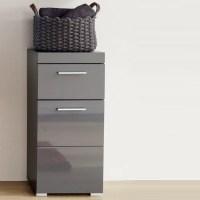 Amanda Bathroom Storage Cabinet In Grey And High Gloss