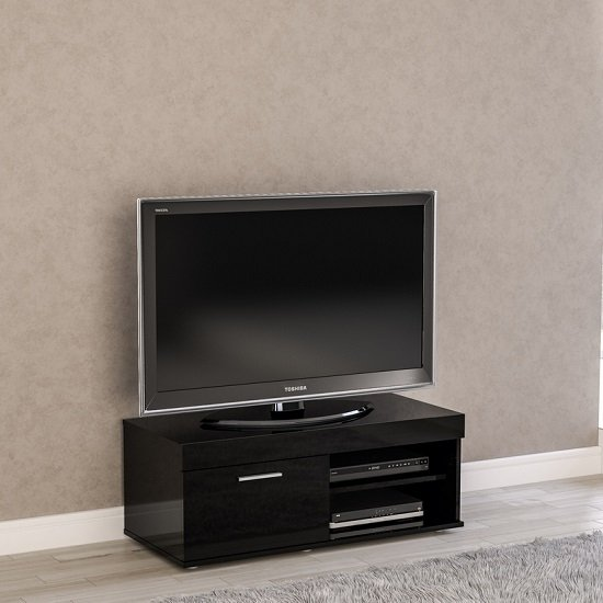 Amerax Small Tv Stand In Black High Gloss With 1 Door Furniture In Fashion