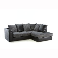 Flat Pack Sofas Uk Chemical Free Angelic Corner Sofa In Black Faux Leather And Grey Fabric