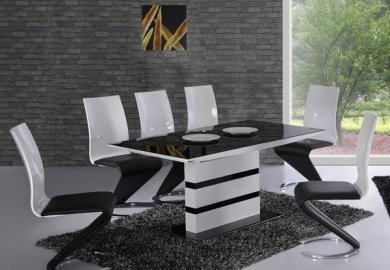 Black Granite Top Dining Table Set