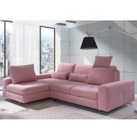 Astrid Modern Fabric Corner Sofa Bed In Pink With Storage