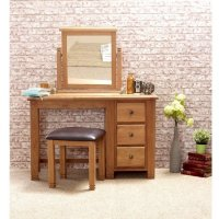 Barista Wooden Dressing Table And Mirror With Stool In Oak