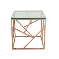 Betty Glass Lamp Table In Clear With Rose Gold Base Frame