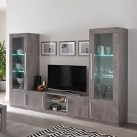 Breta Living Room Set In Grey Marble Effect With High Gloss