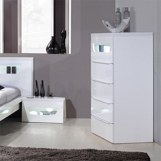 Pulse High Gloss 5 Drawer Cabinet In White With Led