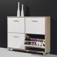 Modern Shoe Storage Cabinet In Canadian Oak And White 15553