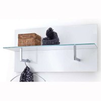 Canberra Wall Mounted Coat Rack In White Gloss With Glass