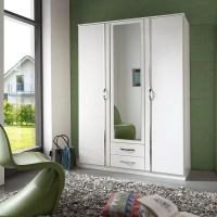 Candice Mirror Wardrobe In Alpine White With Chrome And 3