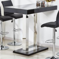 Caprice Glass Bar Table In Black High Gloss And Stainless