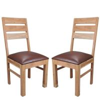 Chevron Wooden Dining Chair In Brown Faux Leather In A Pair