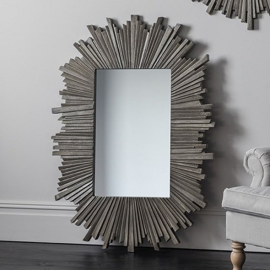 Corsley Starburst Wall Mirror Rectangular In Grey