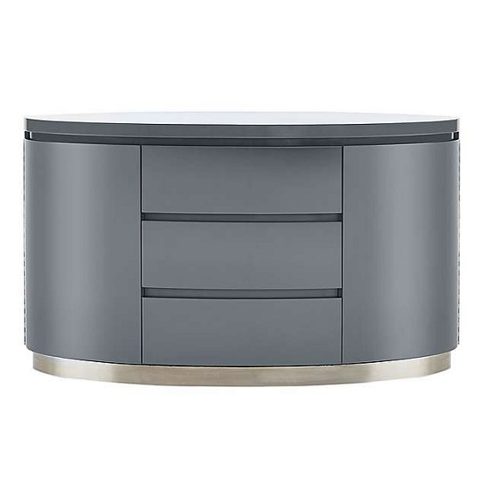 modern grey dining chairs uk roman chair back extension alternative cruise sideboard in high gloss with 3 drawers