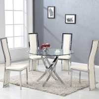 Daytona Round Glass Dining Table With 4 Collete Cream