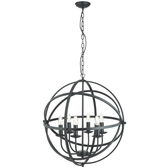 Dea Spherical Pendant Light In Matt Black With 6 Lights