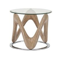 Dunic Glass Lamp Table Round In Sonoma Oak And Chrome 26569