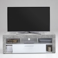 Elista Small TV Stand In White High Gloss And Light Atelier