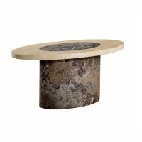 Encore Marble Coffee Table Oval In Dark Brown And Cream