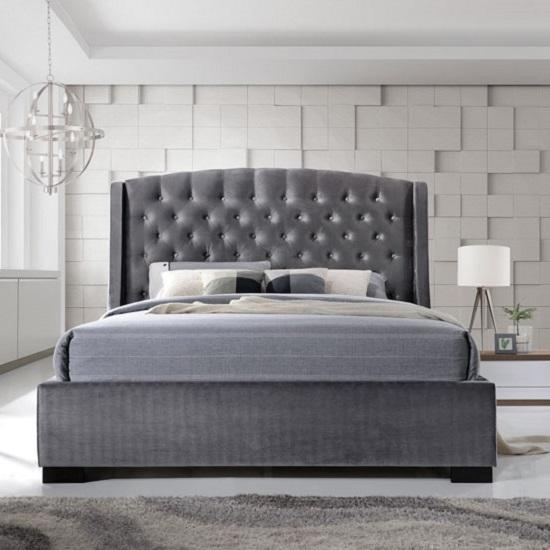 Epsilon King Size Bed In Dark Grey Velvet Fabric 29281
