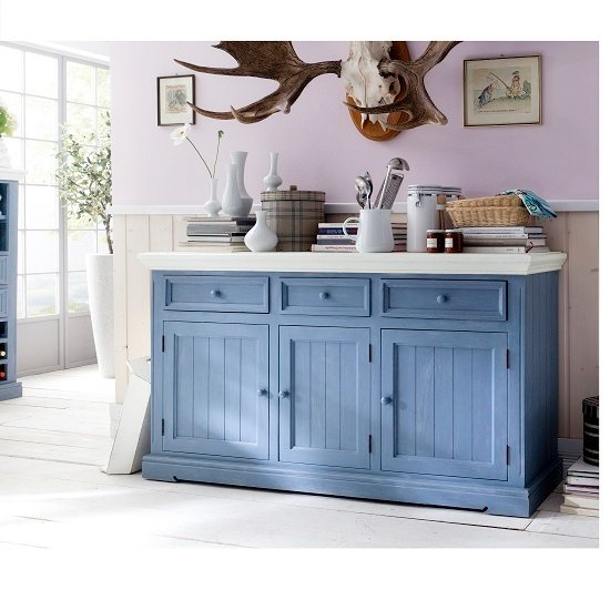Falcon Sideboard In Pine Wood Blue And White 25361
