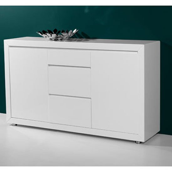 Fino Modern High Gloss White 2 Door Sideboard With 3