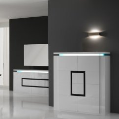Living Room Furniture Black Gloss Decorating Ideas Leather Couches Garde Sideboard In High White With Led Lights 20803