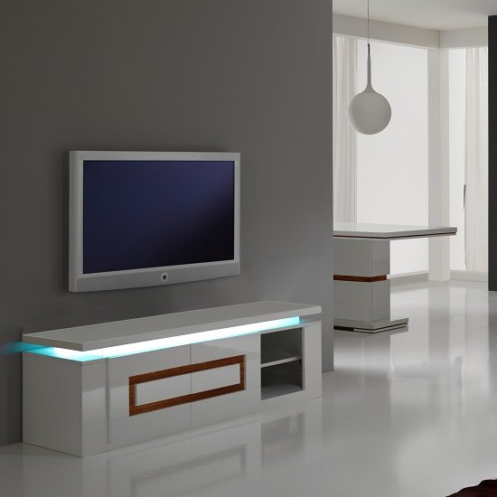 Garde Tv Stand In White Gloss And Walnut With Lights 20793