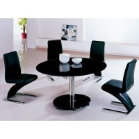 Maxi Round Black Glass Dining Table And 6 Z Chairs 4738