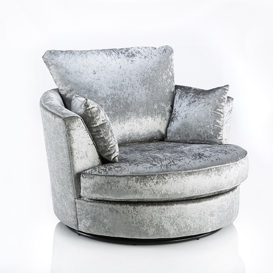 living room swivel glider chairs small fireplace sofa chair in silver fabric with metal base