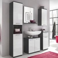 Greeba Bathroom Cabinet In Grey And High Gloss White 37267