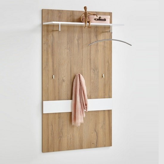 Holte Wooden Wall Mounted Coat Rack In Oak And Glossy White