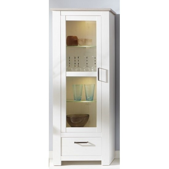 Kaira Display Cabinet In White Pine And Nelson Oak With LED