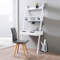 Kristina Retro Ladder Style Computer Desk In White With