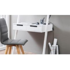 White Gloss Living Room Furniture Contemporary Lounge Chairs Kristina Retro Ladder Style Computer Desk In With