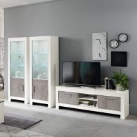 Lorenz Living Room Set In Marble And White High Gloss With