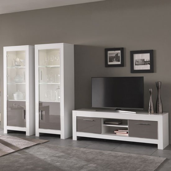 Lorenz Living Room Set In White And Grey High Gloss And Led Furniture In Fashion