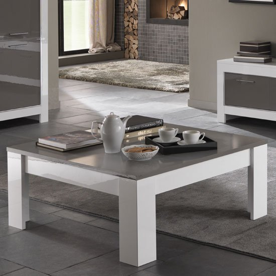 Lorenz Coffee Table Square In White And Grey High Gloss