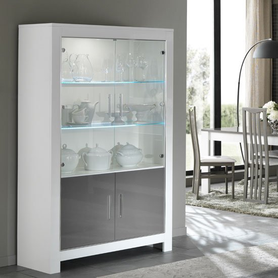 Lorenz Display Cabinet In White And Grey High Gloss With