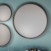 Marion Decorative Round Wall Mirror Large In Bronze 29014