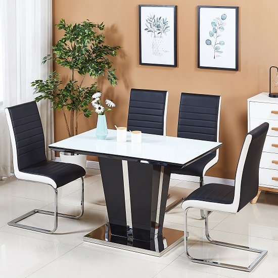 Memphis White Glass Dining Table Small With 4 Symphony Chairs Furniture In Fashion