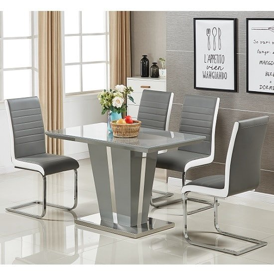 Memphis Glass Dining Table Small In Grey And 4 Symphony