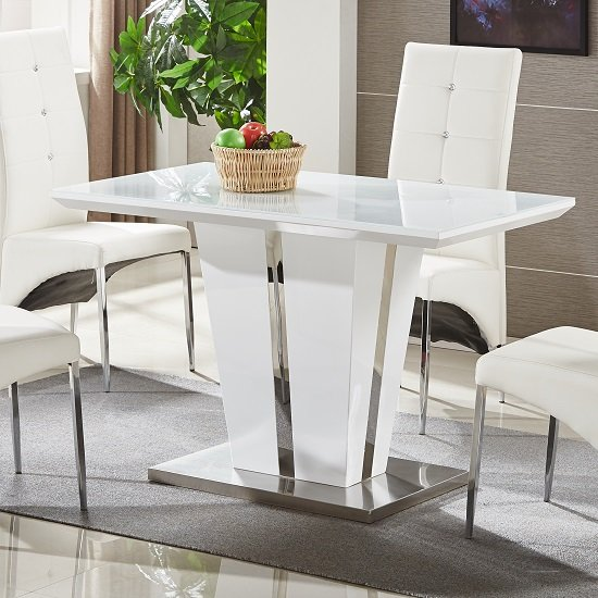 Memphis Glass Dining Table Small In White Gloss And Chrome