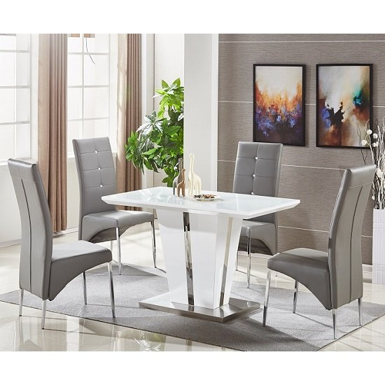 Memphis Glass Dining Table Small In White With 4 Grey